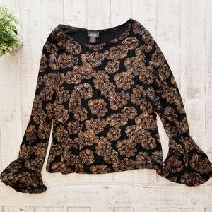 Dressbarn Collection Gold Black Flounce Sleeve Top